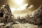 Ruins of Asian Buddhist temple in Cambodia - monochrome poster