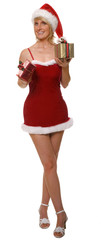 sexy santa girl with presents isolated on white