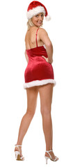 sexy santa girl standing isolated on white