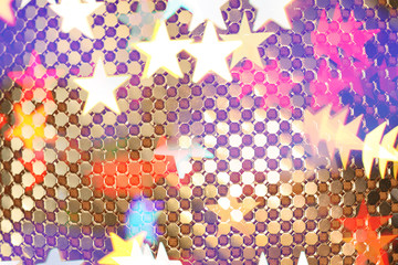 Abstract golden links and stars texture.