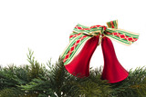Christmas bells on evergreen garland isokated on white poster
