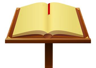 Livre ancien sur son pupitre en bois