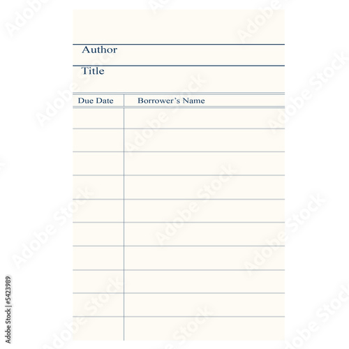Illustration of a blank library signature card.