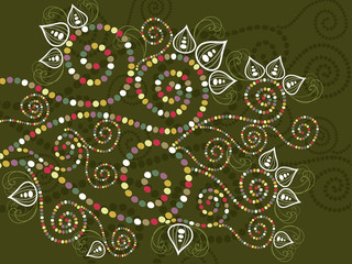 bohemian ethnic floral curves abstract