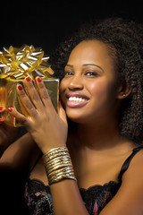 african woman with present