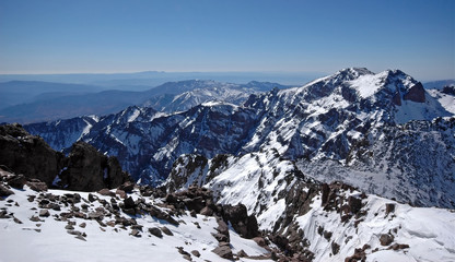 View from the top of the mt Toubkal. Morocco. High-Atlas.