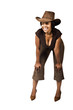 Young African woman casual dressed with cowboy hat