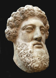 Ancient Greek bust of bearded man, black background poster