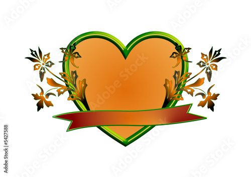 Orange green heart with flowers and banner