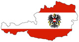 Map and national colors of Austria poster