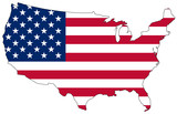 Map of the United States of America in national colors poster