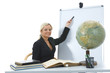 young teacher will teach geography on isolated background