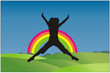 mujer saltando en un bello dia de arcoiris en vector