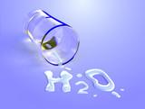 Water chemical symbol. Digital illustration. poster