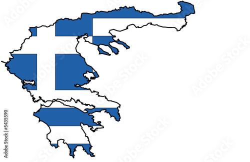 Fototapete Flagge Und Karte Von Griechenland