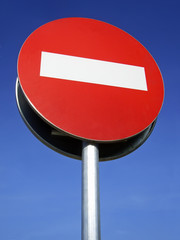 Forbidden Traffic Sign with blue background