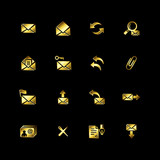 Gold e-mail icons poster
