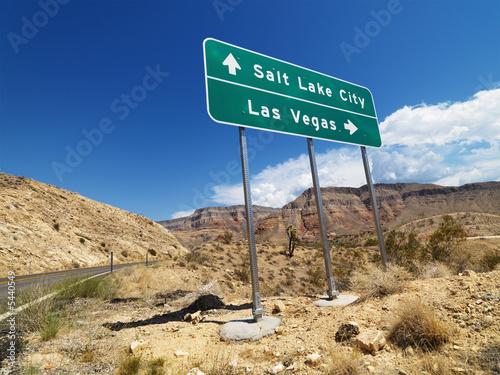 Desert road sign.