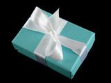 Delicate powder blue gift box with silver bow. poster