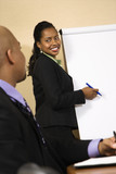 Businesswoman giving presentation to businessman partner. poster