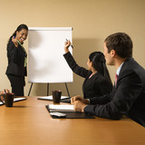 Businesswoman gives presentation to conference table. poster
