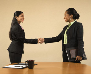 Two businesswomen in suits shaking hands and agreeing.