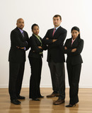 Portrait of businessmen and businesswomen with arms crossed. poster