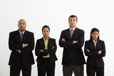 Businessmen and businesswomen standing looking serious. poster