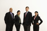 Businessmen and businesswomen standing against white background. poster