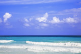 The turquoise waters and white sand beaches of Cancun poster