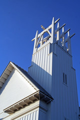 church steeple at seaside