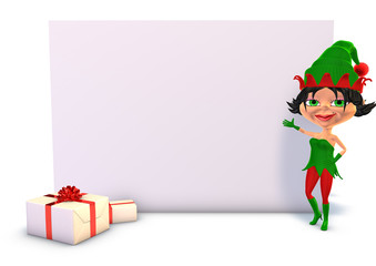 Christmas elf 3d charming cartoon girl with white board