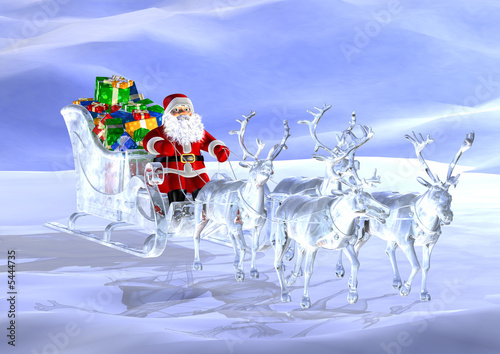 Santa claus driving a glass sledge with reindeers on ice