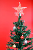 Fake Tree with decorations of Christmas . poster