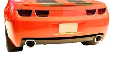 Orange sports cartail end isolated on white background