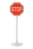 Toy road sign STOP isolated over white background
