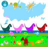 Naklejka Dinozaury i różne zwierzątka