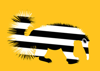 cartoon striped anteater