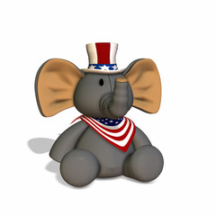GOP Stuffed Elephant.Republican Political Elephant