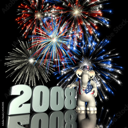 poster of GOP 2008. Republican Political Elephant with fireworks.