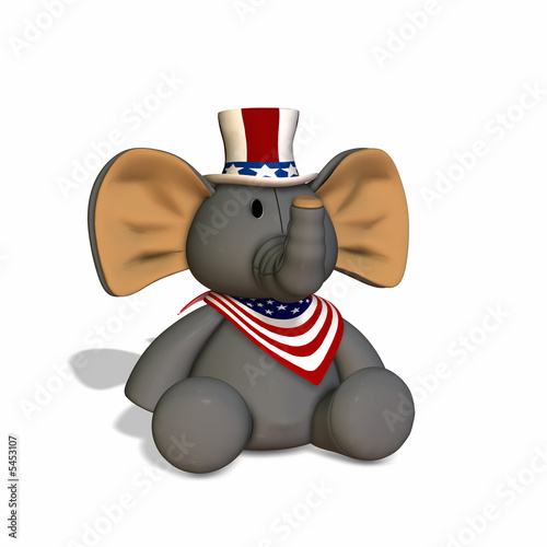 poster of GOP Stuffed Elephant.Republican Political Elephant