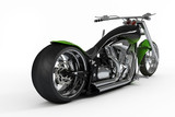 macho  custom bike or motorcycle from rear view poster
