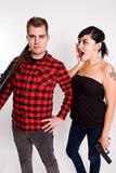 Hunter in flannel with woman poster