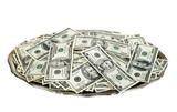 Hand money on silver platter. Dollar bills on tray cutout. poster
