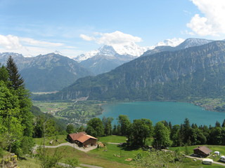 Swiss Alps Landscape, Lake and Mountains