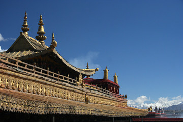 Temple roof and blue sky
