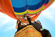 Leinwanddruck Bild - photographer on hot air balloon