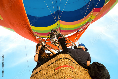 Leinwanddruck Bild photographer on hot air balloon