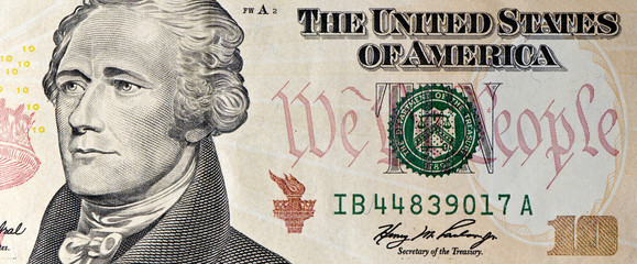 Ten Dollar Bill Macro with  Alexander Hamilton's portrait