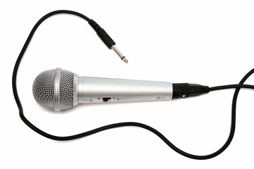 New and metal microphone on a white background